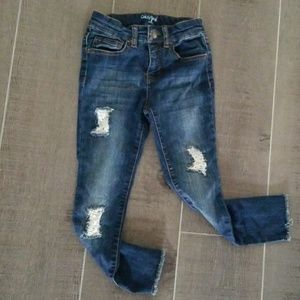 Other - Girl's distressed lace patch eco skinny jeans